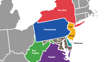 Mid Atlantic States map