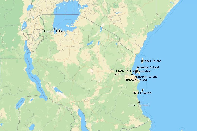 Map of Islands in Tanzania