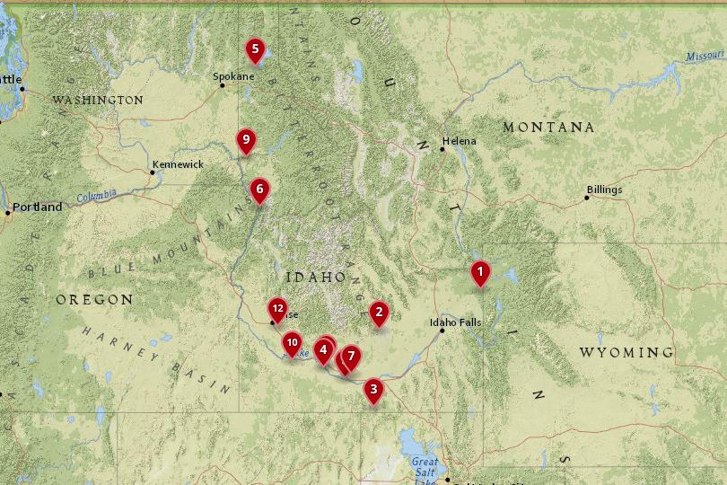Map of National Parks in Idaho