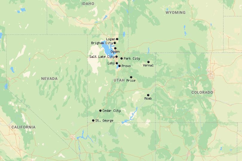 Map of Cities in Utah